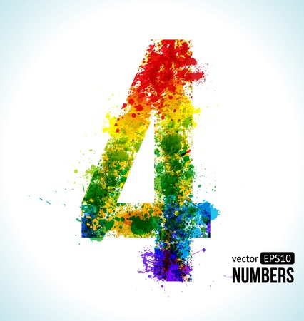 Number 4: Color Paint splashes. Gradient Vector Font. Number 4.