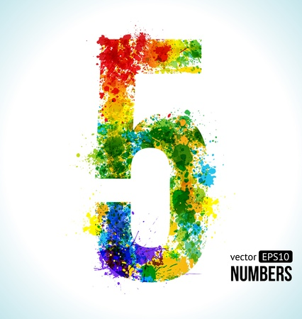 numbers abstract: Color Paint splashes. Gradient Vector Font. Number 5.