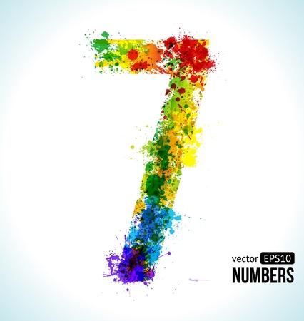 number 7: Color Paint splashes. Gradient Vector Font. Number 7.