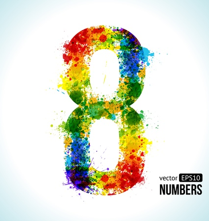 number eight: Color Paint splashes  Gradient  Font  Number 8