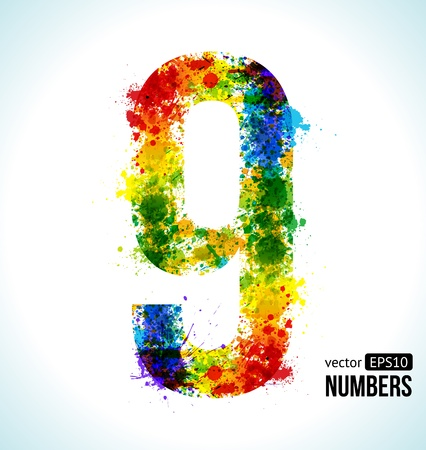 Color Paint splashes. Gradient Vector Font. Number 9. Vector