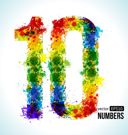 10 number: Color Paint splashes. Gradient Vector Font. Number 10.