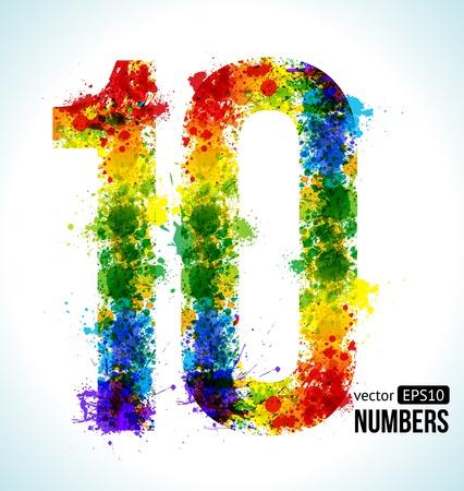 numero diez: Salpicaduras de pintura de color. Gradient Vector fuentes. N�mero 10.