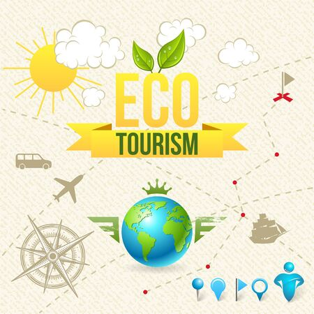 tourism icon: Vector Icon and Label of Eco Tourism and Travel. Design Elements. Illustration