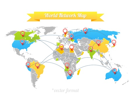 maps globes and flags: Network Map. Illustration