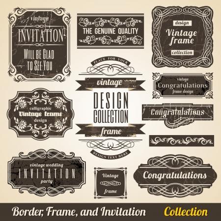 カリグラフィ要素枠のコーナーと招待状のコレクション。  イラスト・ベクター素材