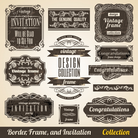 label vintage: Calligraphic Element Border Corner Frame and Invitation Collection. Illustration