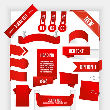 Bundle of Red Web Elements. Corner and Ribbon Collection.