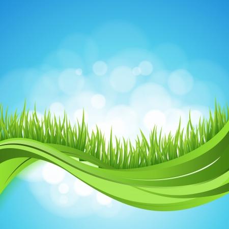 自然変わった。緑の草の波と抽象的な背景。ボケ味のデザイン。