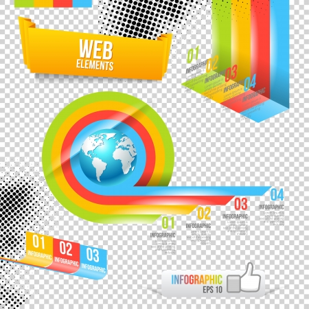 Modern Design Template with World Map. Infographic numbered Banners.  Website Layout. Stock Vector - 18626053