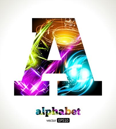 Customizable Light Effect Alphabet. Design Abstract Letter A. Ilustração Vetorial