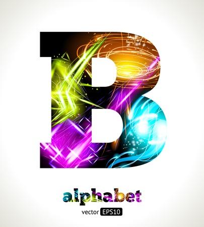 Customizable Light Effect Alphabet. Design Abstract Letter B.