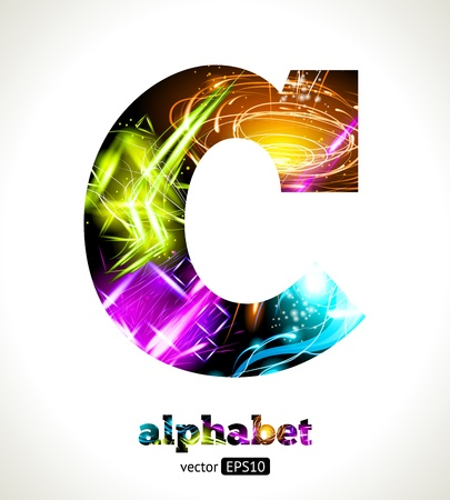 neon:  Customizable Light Effect Alphabet. Design Abstract Letter C. Illustration