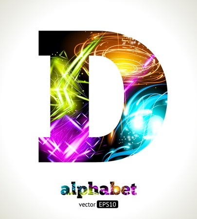 Customizable Light Effect Alphabet. Design Abstract Letter D. Vector