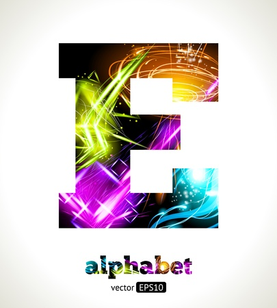 Customizable Light Effect Alphabet. Design Abstract Letter E. Vector
