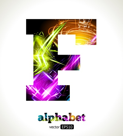 Customizable Light Effect Alphabet. Design Abstract Letter F. Vector