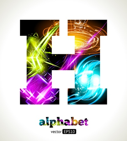 Customizable Light Effect Alphabet. Design Abstract Letter H. Vector