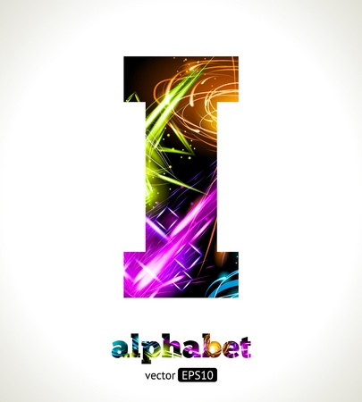 Customizable Light Effect Alphabet. Design Abstract Letter I. Vector