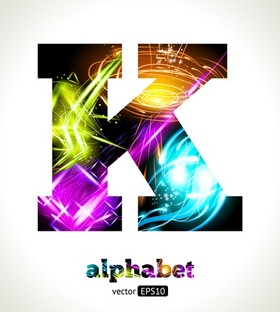 Customizable Light Effect Alphabet. Design Abstract Letter K. Vector