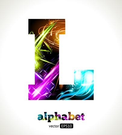 Customizable Light Effect Alphabet. Design Abstract Letter L. Ilustração Vetorial