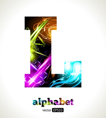 Customizable Light Effect Alphabet. Design Abstract Letter L. Vector