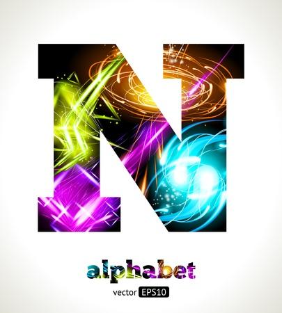 effet: Personnalisable Alphabet Effet lumineux. Conception abstraite lettre N. Illustration