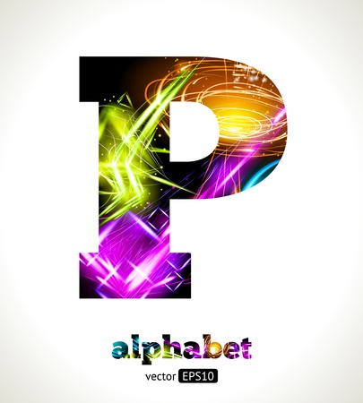 neon party: Customizable Light Effect Alphabet. Design Abstract Letter P. Illustration