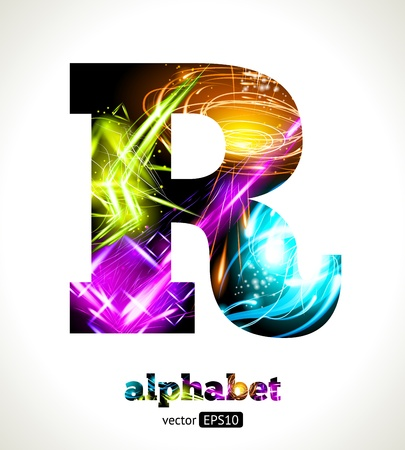 neon green: Customizable Light Effect Alphabet. Design Abstract Letter R. Illustration