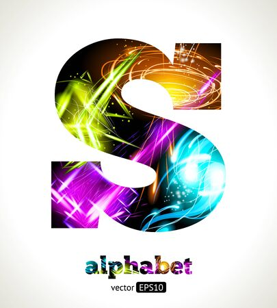 customizable: Customizable Light Effect Alphabet. Design Abstract Letter S.