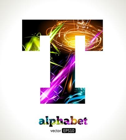 Customizable Light Effect Alphabet. Design Abstract Letter T.