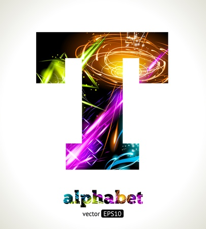 Customizable Light Effect Alphabet. Design Abstract Letter T. Vector