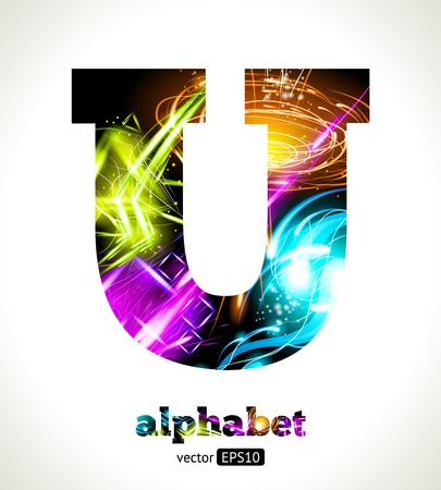 Customizable Light Effect Alphabet. Design Abstract Letter U.