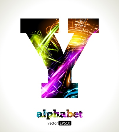 Vector Customizable Light Effect Alphabet. Design Abstract Letter Y.
