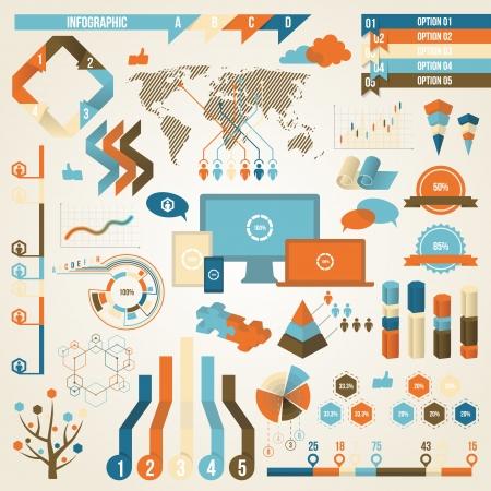 Elementos de Infografía y concepto de comunicación. Ilustración de vector