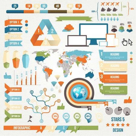vida social: Elementos de Infograf�a y concepto de comunicaci�n. Cintas de vectores y Esquinas.