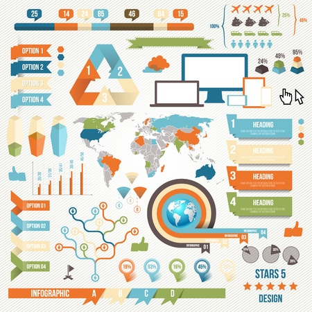 information graphics: Infographic Elements and Communication Concept. Vector Ribbons and Corners.
