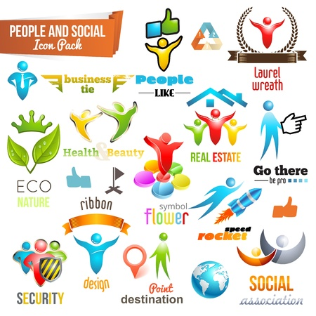 your logo: People Social Community 3d icon and Symbol Pack. Vector design elements. Change color of icons in accordance to your logo. Vol. 3