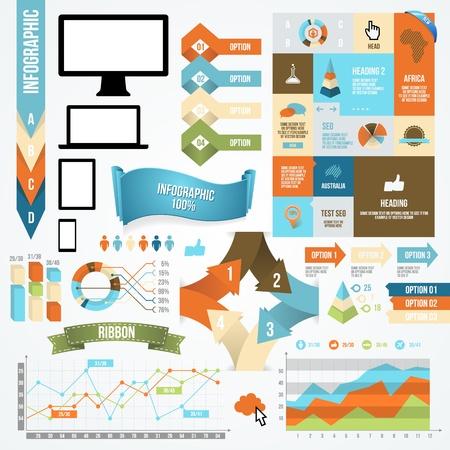 インフォ グラフィック アイコンと要素のコレクション。ベクトルのコミュニケーション概念。  イラスト・ベクター素材