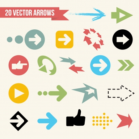 Collection of Vector Arrows  Web Design Icon Set  Retro Illustration  Vector