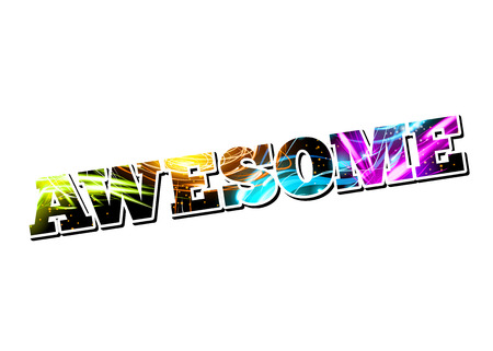 Vector Customizable Light Effect Word Awesome  Vector