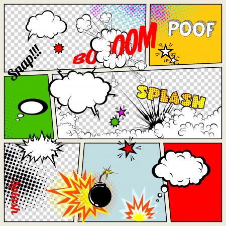 Grunge Retro Comic Speech Bubbles  Vector Illustration on Strip Abstract Talking Clouds and Sounds  向量圖像