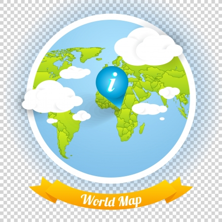World Vector Map with Marks and Web Elements Template, Icons Navigation Menu  Vector