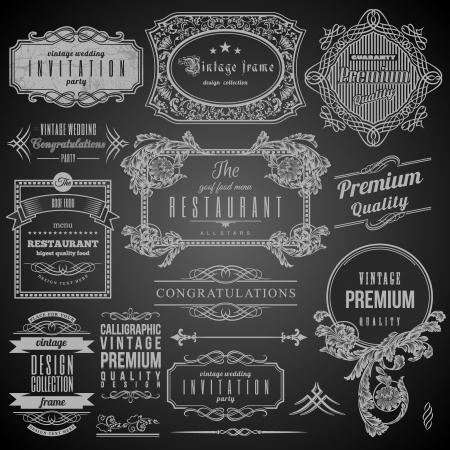 レトロなカリグラフィ デザイン要素、レストランのメニューとフレーム セットのラベル  イラスト・ベクター素材