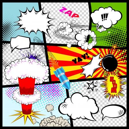 レトロな漫画本のスピーチ泡ベクトル デザイン要素  イラスト・ベクター素材
