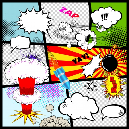 comic book: Retro Comic Book Speech Bubbles  Vector Design Elements  Illustration