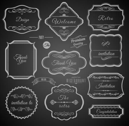 bordi decorativi: Vintage Frames calligrafici con elementi di design. Set di etichette.