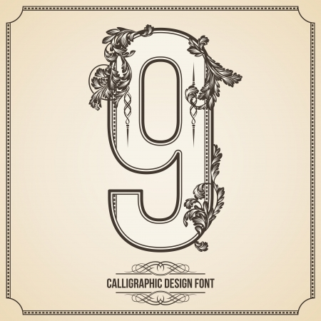 Calligraphic Font. Number 9. Vector Design Background. Swirl Style Illustration. Vector