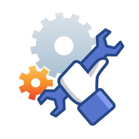 Icono de mantenimiento con llave de mano. Como emblema de trabajo. Foto de archivo - 24872333