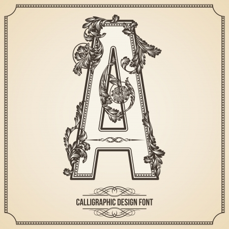 Calligraphic Design Font with Typographic Floral Elements for your Artworks. Nice for Page Decoration. Letter A. Vector