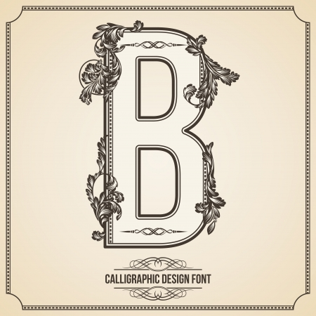 Calligraphic Design Font with Typographic Floral Elements for your Artworks. Nice for Page Decoration. Letter B.